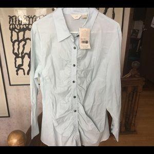 NWT XXL button down pale blue J. Jill blouse